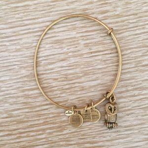 Alex and Ani Owl bracelet matte gold